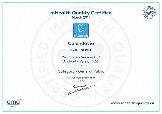 Certificat mHealth Quality Calendovia